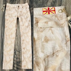 MACHINE Gold Abstract TROPICAL Stretch JEANS NWT 3